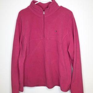 TOMMY HILFIGER Pink 1/4 zip fleece top XXL